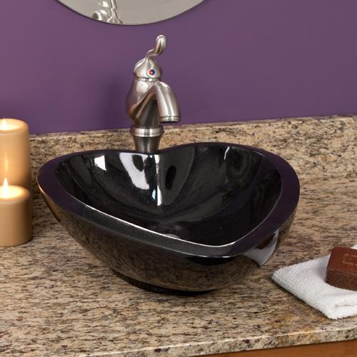 Black Granite Heart Vessel Sink