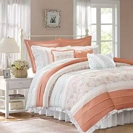 Madison Park Dawn Cal King 9 Piece Cotton Percale Comforter Set in Coral - Olliix MP10-2795