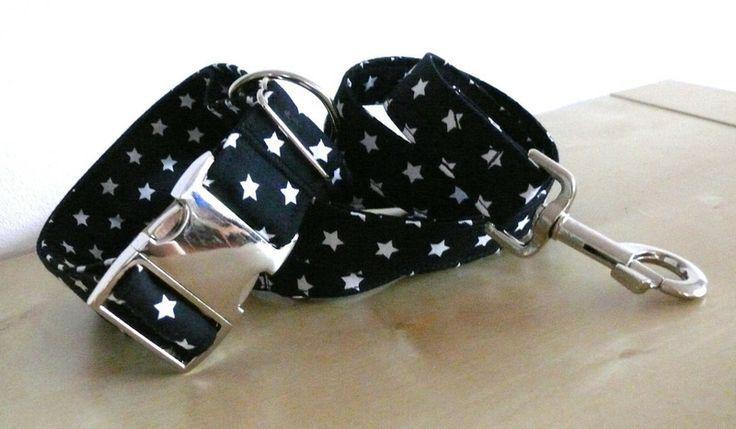 Halsband Gassi Hund Sterne XL Set mit Leine von stitchbully.de auf DaWanda.com