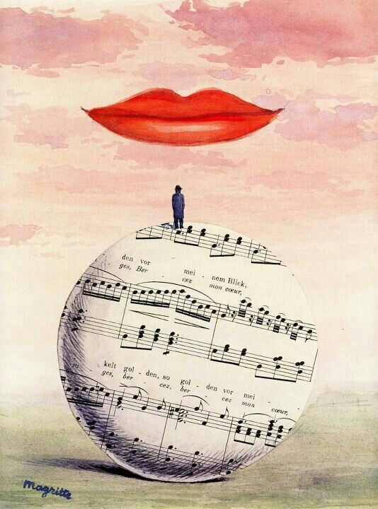 'La Reconnaissance Infinie' by Rene Magritte - 1961 - gouache and collage on paper