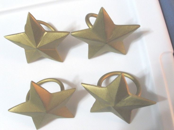 Lot of 4 Star Motif Napkin Ring Holders Gold Plated Metal Contemporary Mod #Unbranded