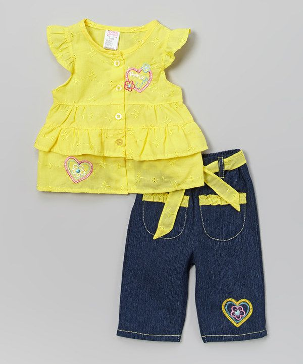This Yellow 'Pretty Cute' Tiered Tee & Denim Pants - Infant & Toddler by Coney Island Kids is perfect! #zulilyfinds