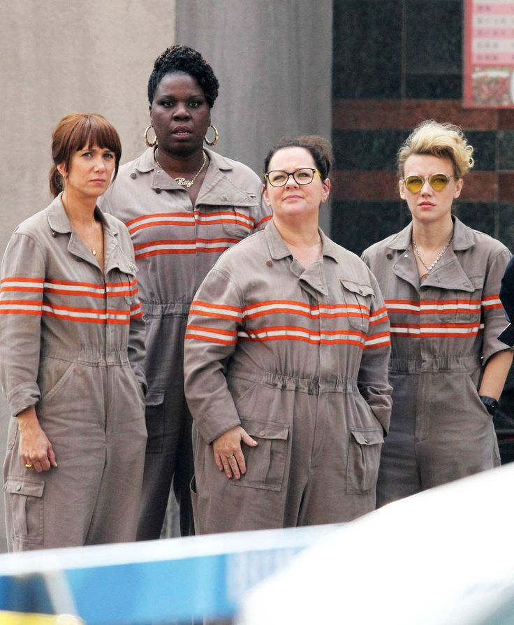 Actresses Melissa McCarthy, Kristen Wiig, Leslie Jones, and Kate McKinnon are all together in their ghostbusting jumpsuits while filming scenes for the new 'Ghostbusters' movie in Boston, Massachusetts on July 9, 2015.