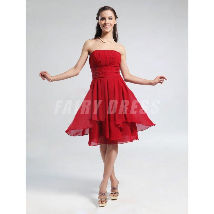 Femme robe de cocktail bustier rouge en mouseline Modèle: PHBG1229  Disponibilité : En stock €54,82