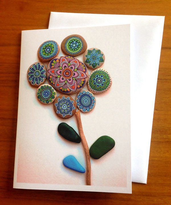 Mandalas are definitely great designs. But you can paint them on rocks, create a massive flower and then take apicture of it and use that for a greeting card. It's definitely one unique design we don't get to see on stationery elsewhere.