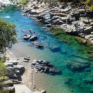 One of the best ways to cool off in this part of Northern Calif.: the swim holes of the South Yuba River. The water comes from the mountains so it's crystal clear and cold. Apparently snakes like it too--one swam right past me!