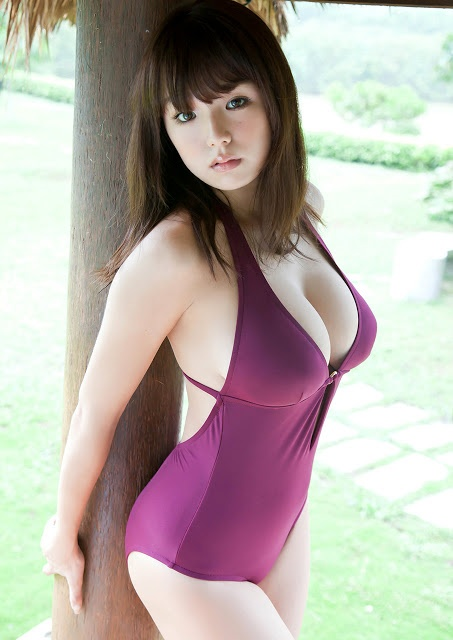 Asian Top Model: Ai Shinozaki - In Purple Swim Wear