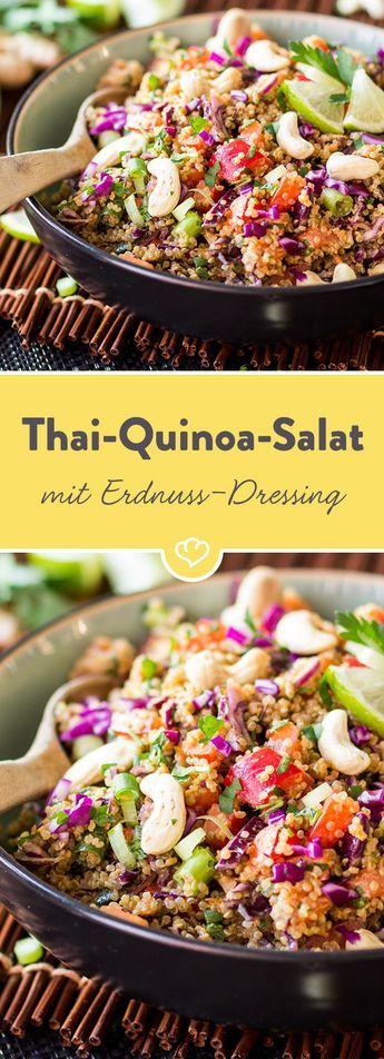 Ein bisschen nussig, ein bisschen scharf, ein bisschen süß. Der Erdnuss-Ingwer …   – Salate