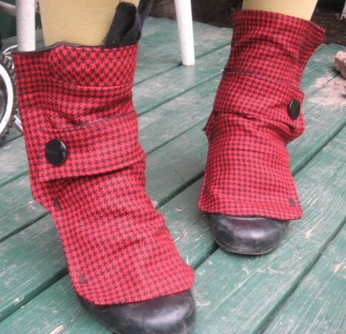 red and black houndstooth spats with pocket (and pocket square) by morgan cleopatra