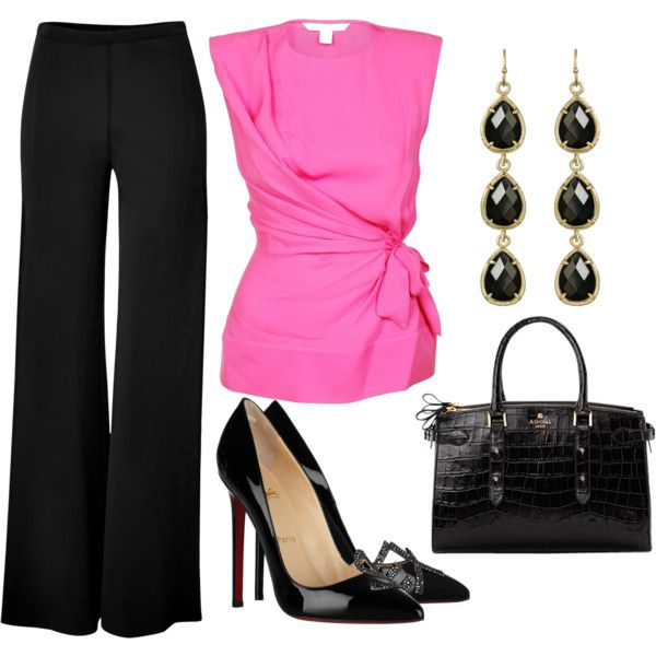 Love the pop of color for the office - bright pink wrap blouse combined with black wide leg pants and patent leather black heels.  Need.