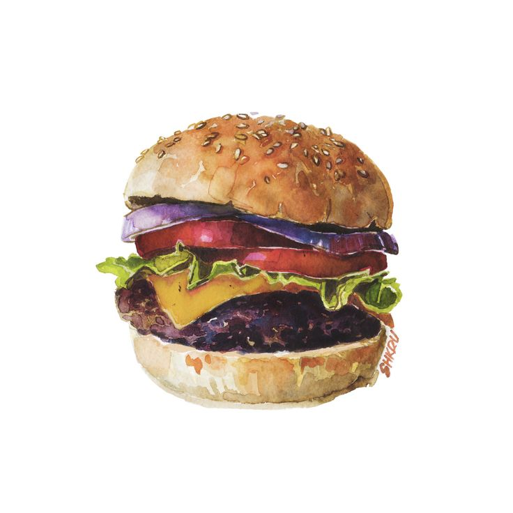 Burger for weekend. Watercolor