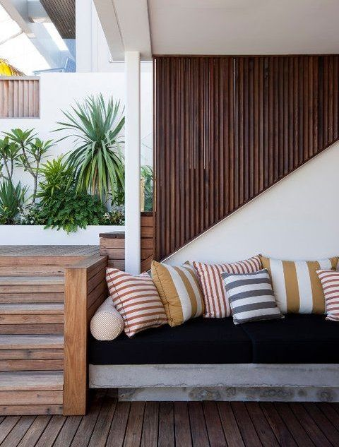 Gardens are all about the natural and organic. Complete your garden setup then with natural materials to create seating and landscaping. For example, you can place a concrete bench in your garden instead of a plastic chair. Then simply use accent pillows to add comfort and color.