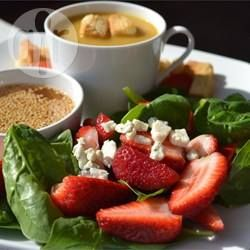 Strawberry Spinach Salad | A quick and easy salad of fresh spinach, sliced strawberries and a white wine vinaigrette with a touch of paprika. Delicious. | @ allrecipes.com.au