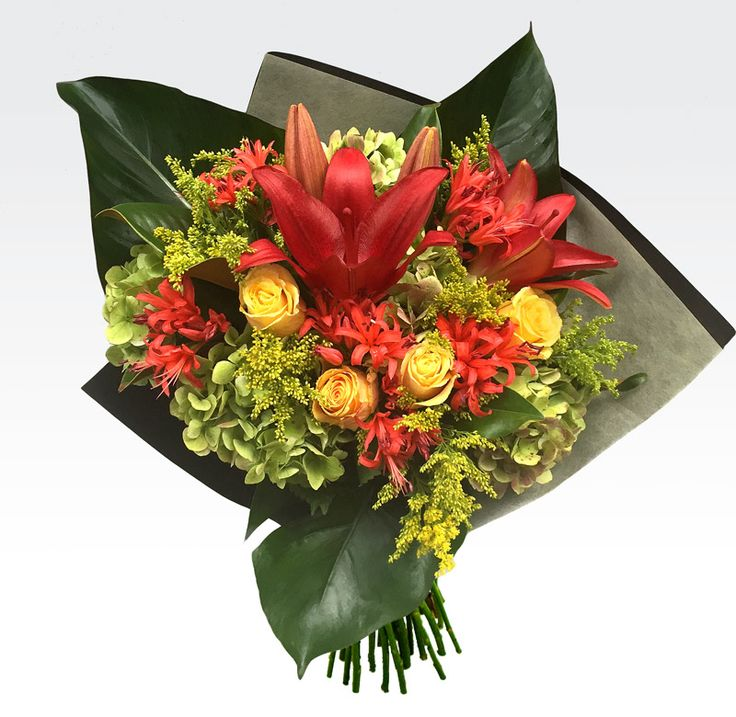#Fire_flame is a mixed hand tied #bouquet of rich orange, red and yellow tones consisting of the seasons best booms. Reasonable price, Fast #delivery. Place your order now!