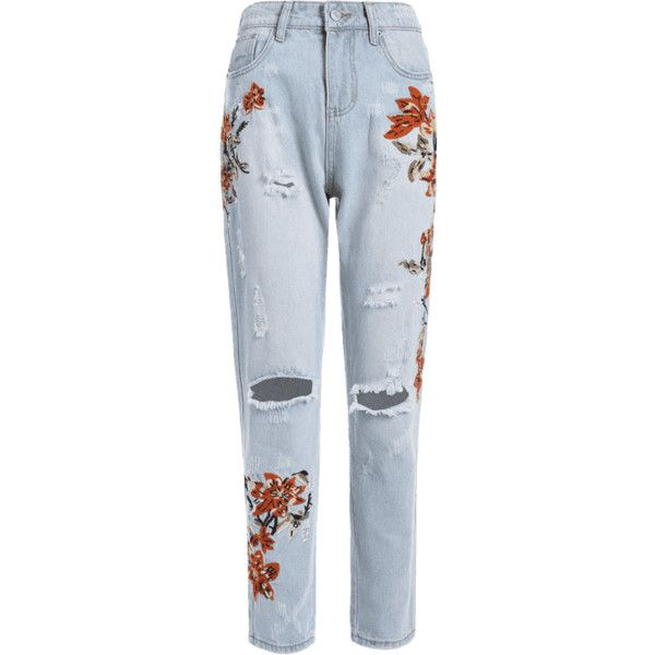 Floral Embroidery Destroyed Tapered Jeans (£23) ❤ liked on Polyvore featuring jeans, zaful, blue ripped jeans, torn jeans, distressed denim jeans, destruction jeans and distressed jeans