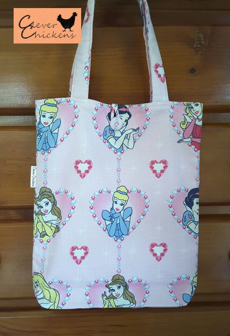 Library Bag - Book Bag - Ballet Bag - Disney Princess -Cinderella Snow White Belle Beauty and the Beast Aurora Sleeping Beauty - Child Girl by CleverChickens on Etsy