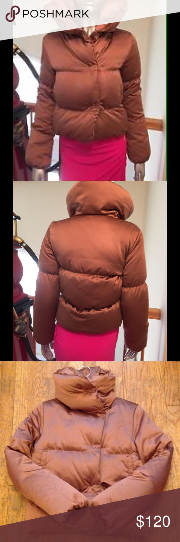 Theory Down KEILLY Spritzer  Puffer Jacket awesome Theory Down puffer Jacket size small   Snap closures. Pretty close to perfect condition. Has a tiny tiny pull at the neckline which is covered up. Retails for $415 plus tax.  Name of the Jacket is the KEILLY Spritzer. Deep salmonella n pink color.  Please ask any questions. PRICE is FIRM.  It's on eBay for $199. Insulated with 75% Down. I moved to Florida no need any longer.  It's truly an awesome Jacket and keeps you warm while still 👀 NG…
