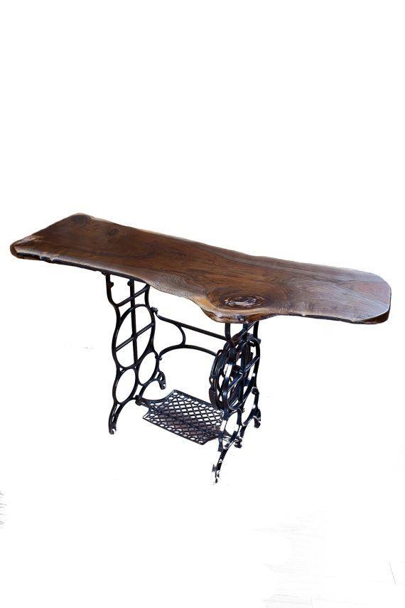 Koa wood slab for a desk on vintage trestle.