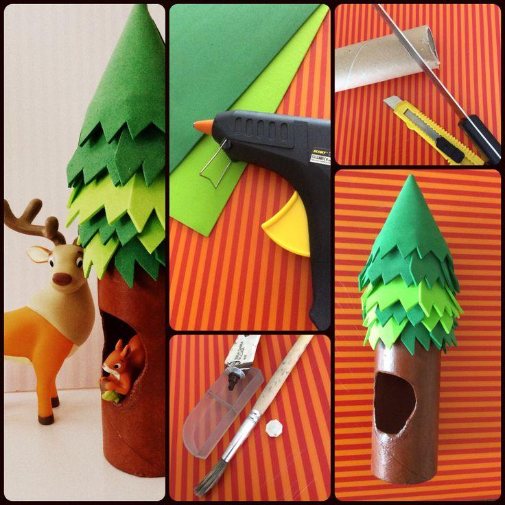 """Tree home made Materiale:rotolo di cartone-quello della carta casa-e fommy verde per la chioma. Colla a caldo per assemblare il tutto. Tempera e vernice trasparente all'acqua per decorare il tronco. 2 bambini antipatici che ti chiedono:""""ma cos'è?un razzo?"""""""