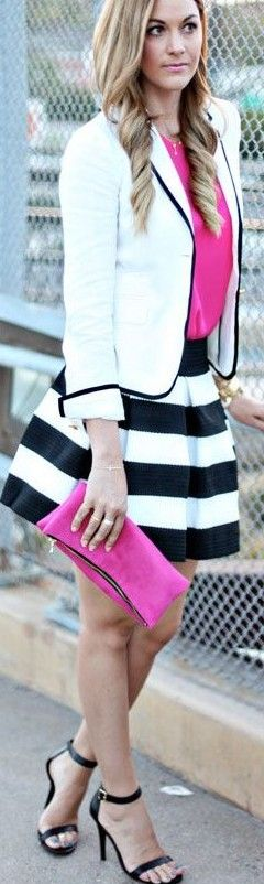 fuchsia pop on stripes ♥✤ | Keep the Smiling | BeStayBeautiful. make this outfit best for you :) click the photo