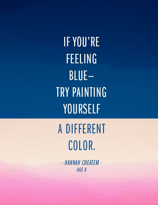 if you're feeling blue...