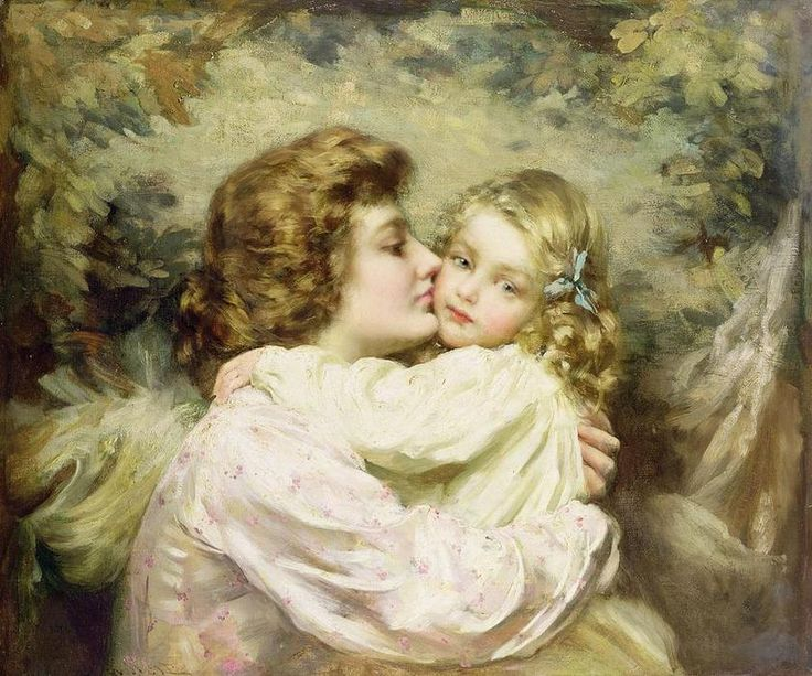 'madre e hija' de Thomas Benjamin Kennington (1856-1916, United Kingdom)