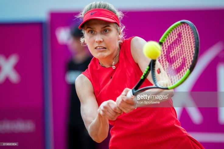 Antonia Lottner (GER) plays a backhand during the WTA Ladies Championship Gstaad on July 20, 2017 at Roy Emerson Arena in Gstaad, Switzerland.