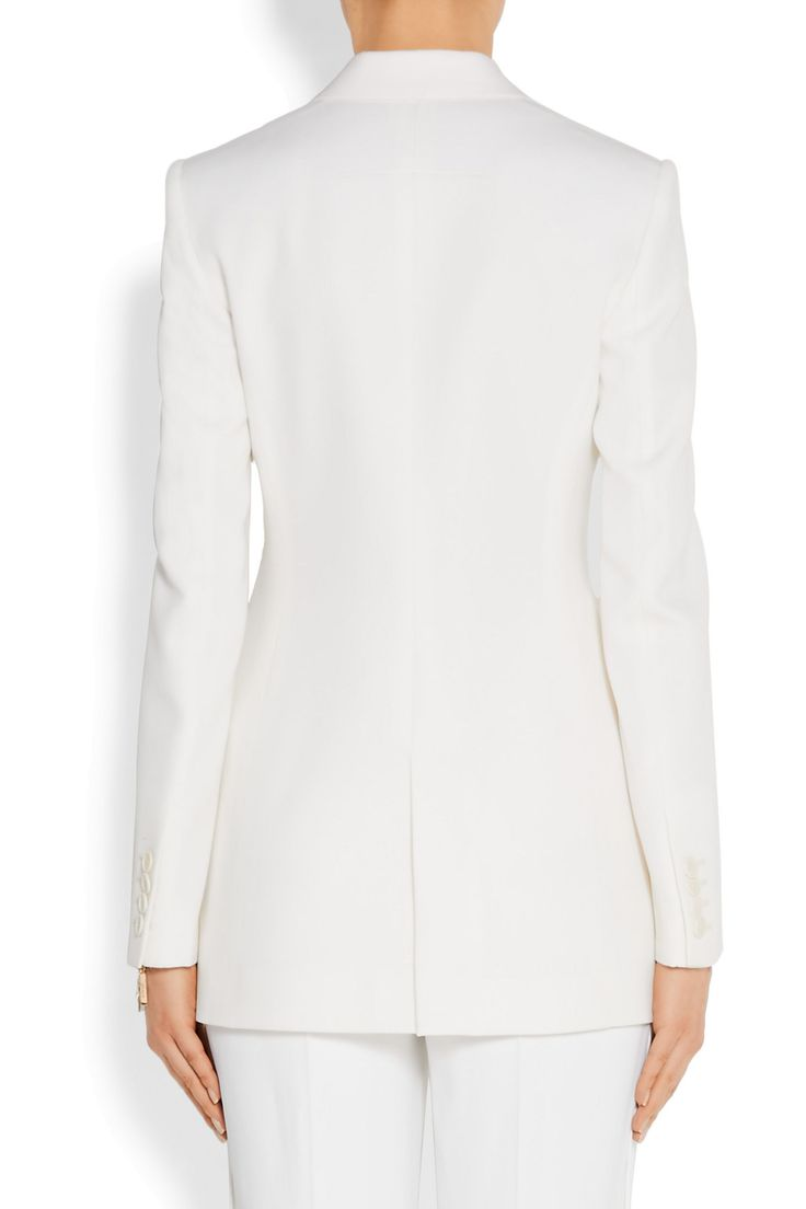 Satin-trimmed blazer in cream grain de poudre wool | GIVENCHY | Sale up to 70% off | THE OUTNET