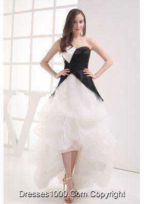 A-line Sweetheart High-low Pick-ups Wedding Dress