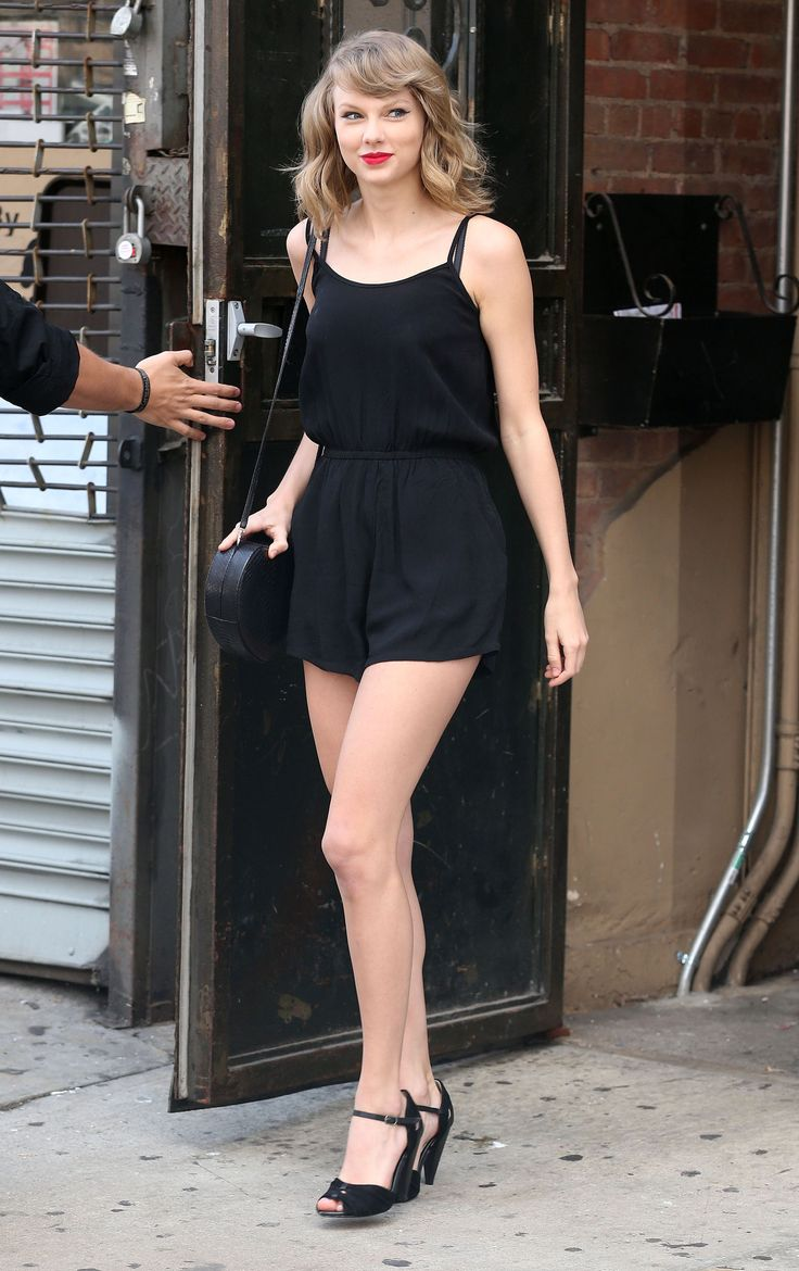 Taylor Swift Style Black Romper Heels And Red Lips