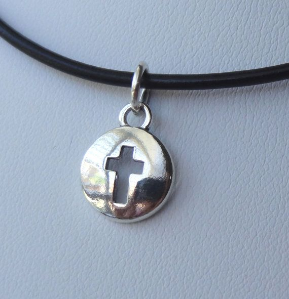 Leather and Sterling Silver Cross Domed Boy Necklace by ymcjewelry