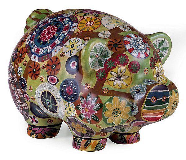 Folkart Piggy Bank: Folk Art, Flowers Children, Funky Decor, Folkart Piggy, Floral Motif, Porcelain Piggy, Multicolored Floral, Piggy Banks, Imax Folkart