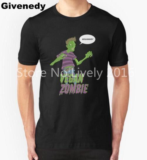 Vegan Zombie T Shirts Men Skull Swag O Neck Clothing Short Sleeve camiseta #Affiliate