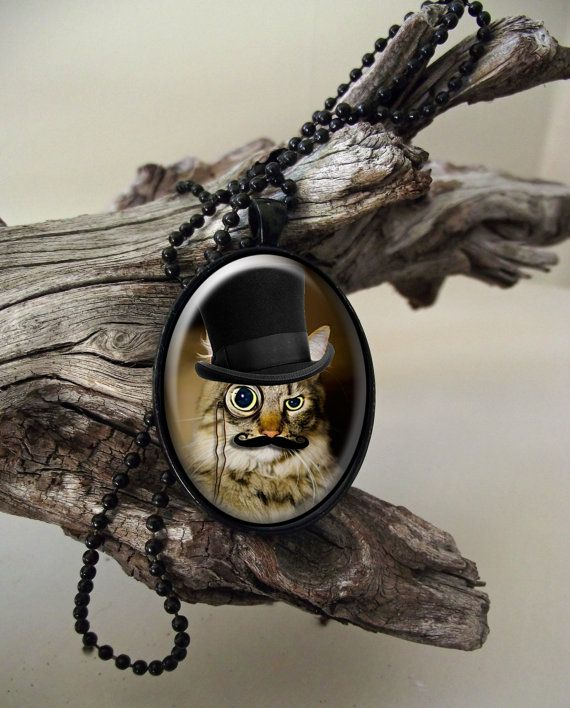 Monocled cat with moustache steampunk style by ArtiFartiGifts