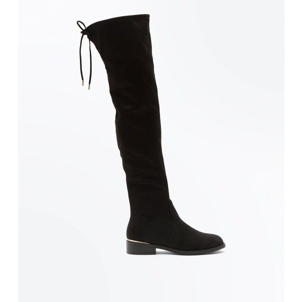 Wide Fit Black Suedette Metal Trim Over The Knee Boots (€51) ❤ liked on Polyvore featuring shoes, boots, black, black stretch boots, stretch over the knee boots, tie back over the knee boots, black slip on boots and over-knee boots
