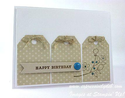 Debbie's cute card features handmade tags from Sahara Sand dsp with Linen Thread bows and an Island Indigo brad.