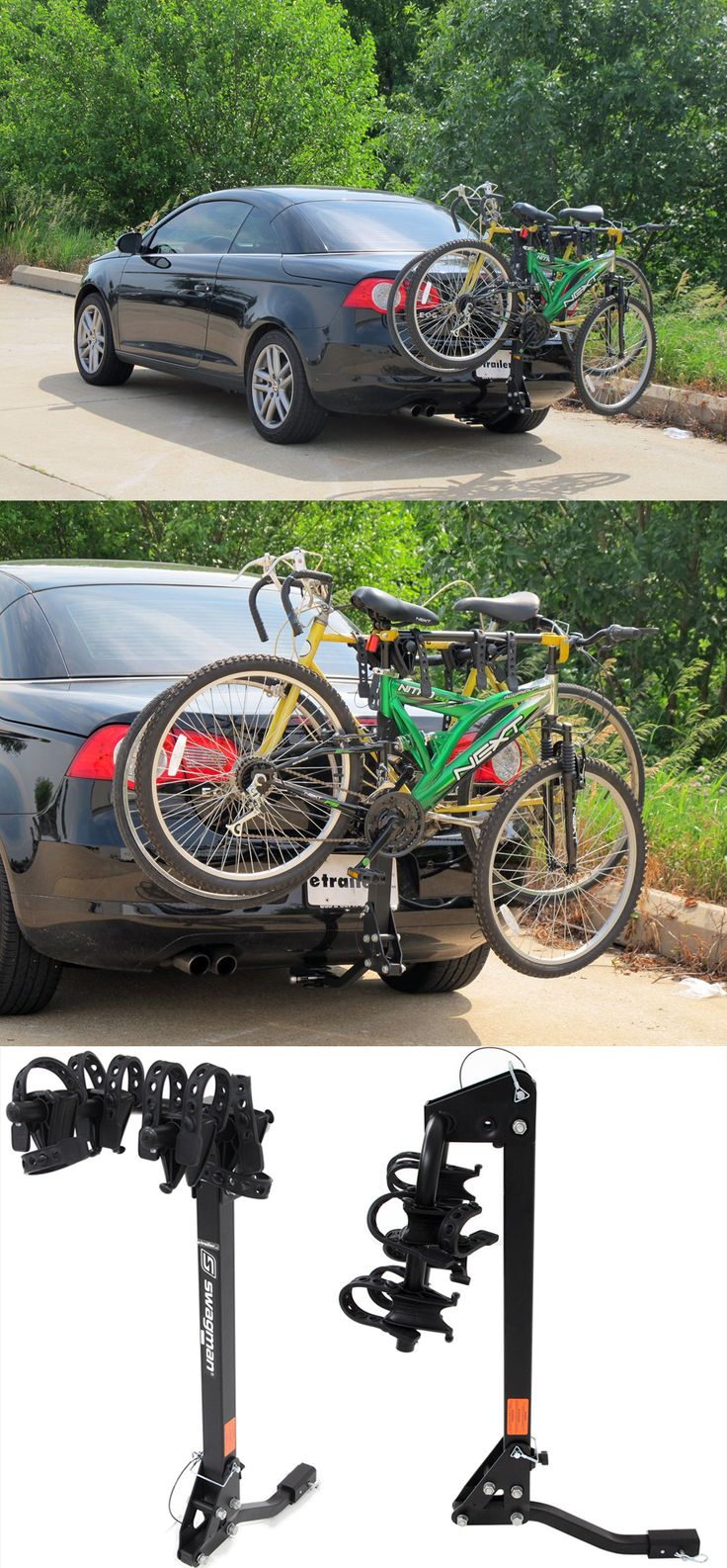 For carrying one or two bikes to and from the biking or cycling destination! The swagman trailhead bike rack is a necessity when it comes to car accessories for bike lovers. Features sturdy straps that secure almost any size bike frame to the cradles - the arms fold down for simple storage!