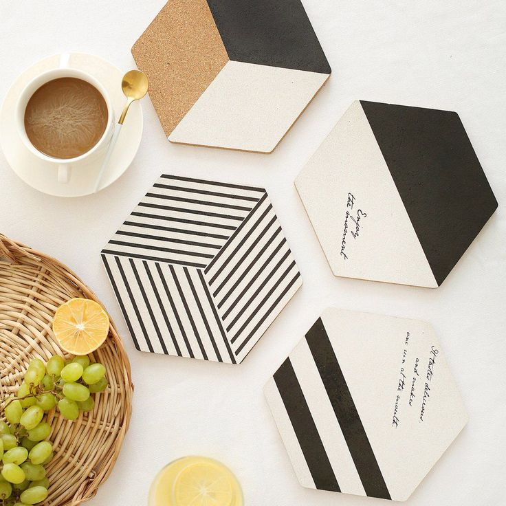Geometric Hexagon Black and White Cork Table Coaster Trivet 4pc Set   – crafty