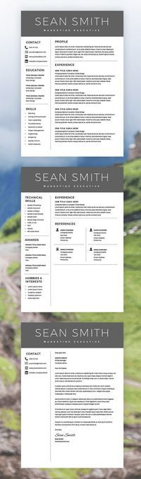 Curriculum Vitae Template - Professional Resume Template - Free Cover Letter - Microsoft Word Mac / PC - Resume Templates - Instant Download