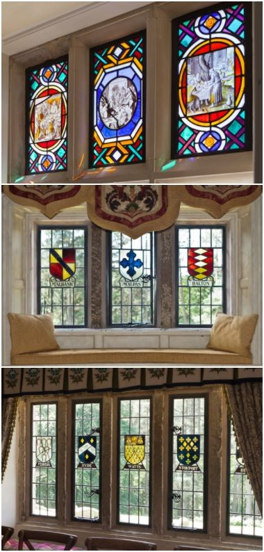 Decorative stain glass bronze windows.