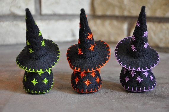 Three Little Wooden and Wool Felt Witches  A Waldorf and
