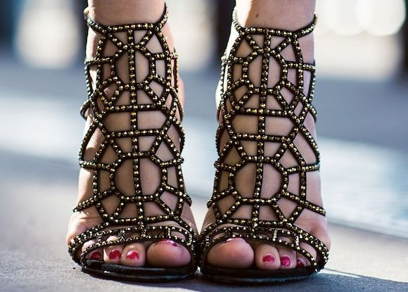 geometric sandals. gold and black. day to night.