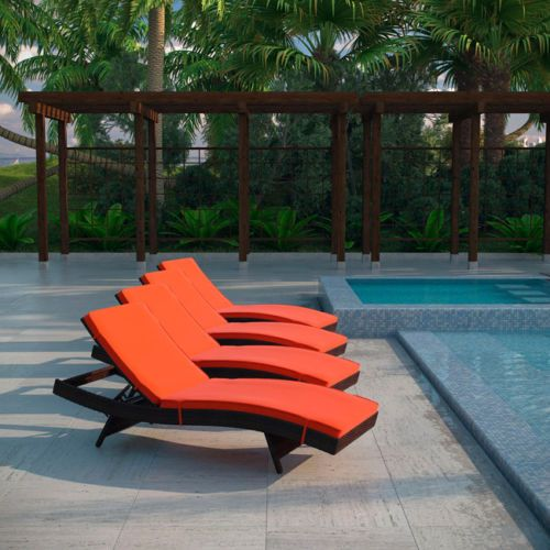 Peer Chaise Outdoor Patio Set Of 4 In Brown Orange
