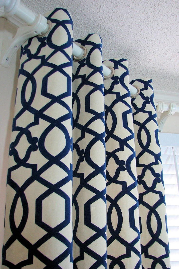 Navy Blue Bedroom Curtains Navy And White Patterned Curtains