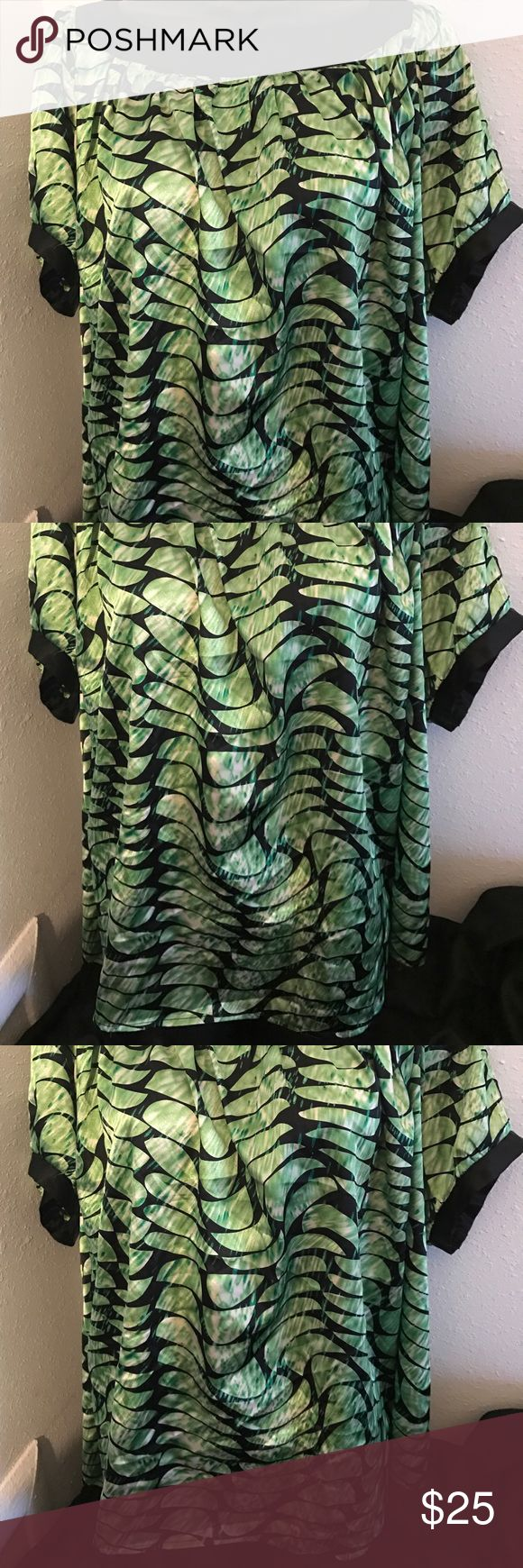 NY Collection Plus Size Woman Mermaid Blouse Plus Size 3X  97 Polyester 3 Spandex Trim 100 Polyester Machine Wash Cold Cold Gentle Cycle NY Collection Tops Blouses