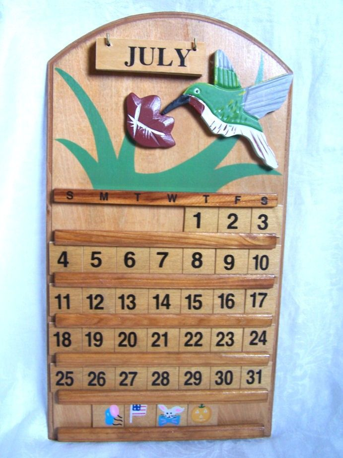 Perpetual Calendar Vintage : Vintage wooden perpetual calendar wall hanging