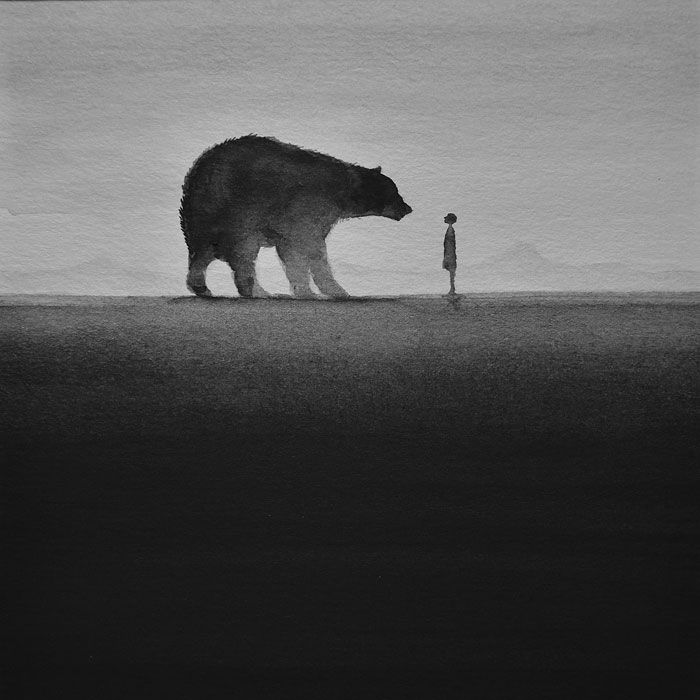 Poetic Black and White Watercolors of Children With Wild Animals by Elicia Elidanto