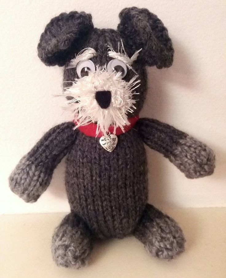 Hand KNITTED MINI SCHNAUZER dog, puppy, soft toy, custom hand made to order. by KwerkyKnits on Etsy