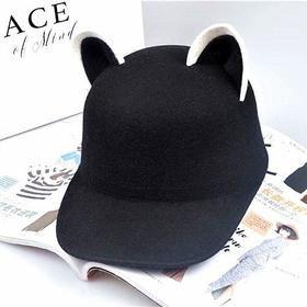 Black Kawaii Cat Ear Cap YV1174