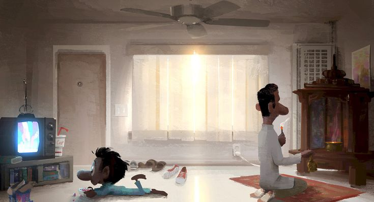 "Concept art for ""Sanjay's Super Team"" by Sanjay Patel. Click to enlarge. (Disney/Pixar)"